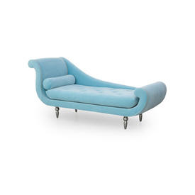 "Curved Baby Blue Velvet ""Cyrus"" Chaise with Silver Piping"
