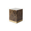 Square Solid Brown Marble 'arthur' Lamp Table On Brass Base (40cm X 40cm X 50cm H)