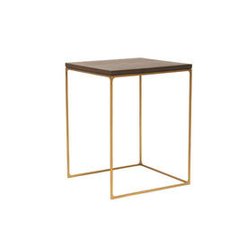 "Medium Dark Oak Top ""Monterey"" Lamp Table on Antique Brass Frame"