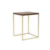 Medium Dark Oak Top 'monterey' Lamp Table On Antique Brass Frame ( 38 Cm X 38 Cm X 56 Cm H)