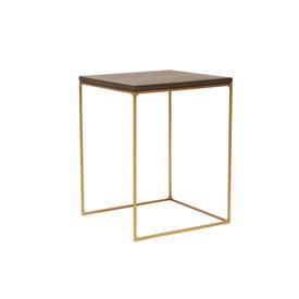 "Small Dark Oak Top ""Monterey"" Lamp Table on Antique Brass Frame"