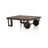Small Rustic Wood And Metal Factory Cart Coffee Table (83cm X 63cm X 30cm H) (, Vintage)