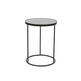 Medium Circ Black Metal Lamp Table with Aged Black Mirrored Top