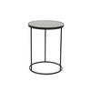 Medium Circ. Black Metal Lamp Table With Aged Black Mirrored Top (43cm X 56cm H)