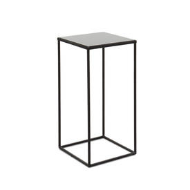 Small Square Black Metal Side Table with Black Mirrored Glass Top