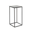 Small Square Black Metal Side Table With Black Mirrored Glass Top (30cm X 30cm X 60cm H)
