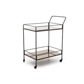 "Rect 2 Tier Black Metal & Copper Mirrored Glass ""Dixon"" Trolley"