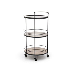 "Circ 2 Tier Black Metal & Copper Mirrored Glass ""Lucy"" Trolley"