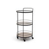 Circ. 2 Tier Black Metal & Copper Mirrored Glass 'lucy' Trolley (49cm X 93cm H)