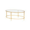 "Oval Gold Hammered & Clear Glass 2 Tier ""Pau"""" Coffee Table ( H 39cm X W 95cm X D 59cm )"