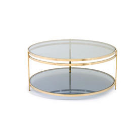 Circ Brass & Blue Tinted Glass 2 Tier Coffee Table