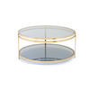 Circ. Brass & Blue Tinted Glass 2 Tier 'york' Coffee Table (90cm X 40cm H)