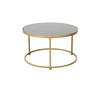 Small Circ Brushed Gold & Black Perspex Coffee Table (49cm X 30cm H)