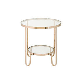 "Circ Gold & Clear Glass 2 Tier ""York"" Auxiliary Table"