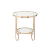Circ. Gold & Clear Glass 2 Tier 'york' Auxiliary Table (61cm X 62cm H)