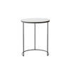 Large Circ. Black Metal Lamp Table With Aged Black Mirrored Top (56cm X 69cm H)
