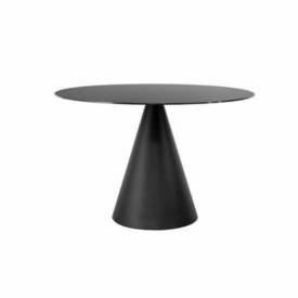 "Circ Black Glass ""Oscar"" Dining Table on Cone Base"