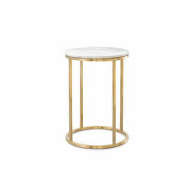 "Circ White Marble ""Kensal"" Lamp Table on Gold Frame"
