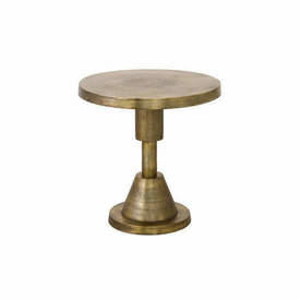 "Aged Gold Metal ""Spindle"" Circ Lamp Table"