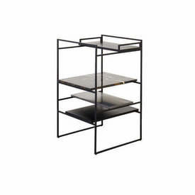 """Black """"Architect"""" Occasional Table with Black Wood, Marble & Brushed Ali Shelves"""