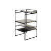 Black 'architect' Occasional Table With Black Wood, Marble & Brushed Ali Shelves (45cm X 45cm X 75cm H)