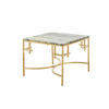 Square Green Marble 'anna' Lamp Table On Shiny Gold Base (60cm X 60cm X 45cm H)