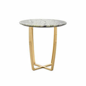 "Circ Green Marble ""Edward"" Lamp Table on Shiny Gold Base"