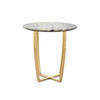 "Circ. Green Marble ""Edward"" Lamp Table On Shiny Gold Base ( H: 61cm Diam: 60cm)"