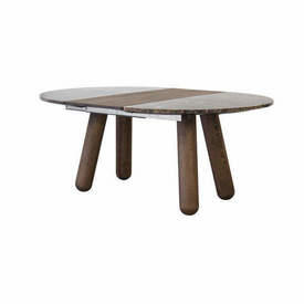 """Smoked Oak Leg """"Balance""""  Dining Table with Brown Marble Top & 2 Smoked Oak Extension Leafs"""