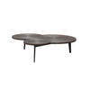 Oak Veneer & Copper Three Top 'cite' Coffee Table On Black Legs (138 Cm X 111 Cm  X37 Cm H)
