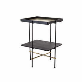 """Black & Gold Frame """"Highline"""" Occasional Table with Black Ash Shelf & Gold inlay Tray Top"""