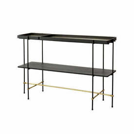 "Med. Black & Gold Frame ""Highline"" Console Table with Black Ash Shelf & Gold inlay Tray Top"