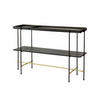 Med. Black & Gold Frame 'highline' Console Table With Black Ash Shelf & Gold Inlay Tray Top (140cm X 40cm X 90cm H)