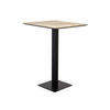 Square Wooden 'herringbone' Poser Table On Black Base (70cm X 70cm X 100cm H)