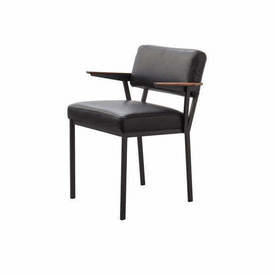"Black Leather ""Concept"" Dining Chair with Dark Oak Arms"
