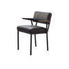 Black Leather 'concept' Dining Chair With Dark Oak Arms