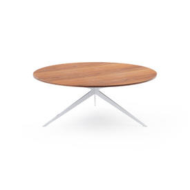 White Metal Tri Leg ''Tree'' Coffee Table with Circ Walnut Top