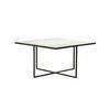 Large Square Black Metal Coffee Table With Aged Metallic Bronze Top (70cm X 70cm X 39cm H)