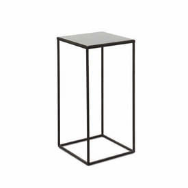 Large Square Black Metal Side Table with Black Mirrored Glass Top