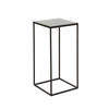 Large Square Black Metal Side Table With Black Mirrored Glass Top (40cm X 40cm X 90cm H)