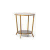 Aged Gold & Green Mottled Occassional Table With Shelf ( H: 67cm Diam: 60cm)