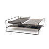 Large Square Black  'architect' Coffee Table With Black, Marble & Brushed Ali Shelves (100cm X 100cm X 35cm H)