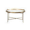 Circ. Aged Gold Metal Coffee Table With Mottled Top (112cm X 54cm H)