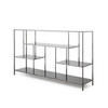 Gunmetal 'lloyd' Low Shelving Unit/ Sideboard With Black Glass Shelves (190cm X 40cm X 108cm H)