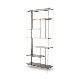 "Gunmetal ""Lloyd"" Shelving Unit with Black Glass Shelves"