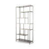 Gunmetal 'lloyd' Shelving Unit With Black Glass Shelves (98cm X 35cm X 210cm H)