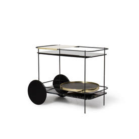 "Grey Marble, Grey Glass 2 Tier ""Camillo"" Bar Trolley with Black Frame & 2 Brass Trays"
