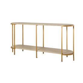 Grey Oak & Brushed Gold 2 Tier Console Table
