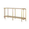 Grey Oak & Brushed Gold 2 Tier Console Table (180cm X 46cm X 87cm H)