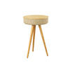Biege Tweed Effect & Oak Wood Radio Lamp Table (41cm X 66cm H)